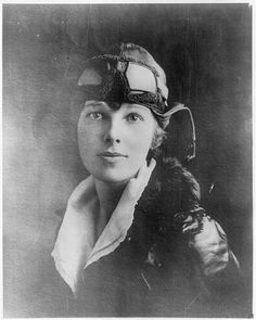 Amelia Earhart: Amelia Earhart, head-and-shoulders portrait, wearing leather helmet with goggles.gui