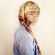 Half french braid, half fish tail braid.
