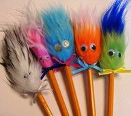 Fuzzy Pencil Toppers - easy and fast.  make sure you wrap fur around a few times to get a full effect.  loved these when i was a kid,.