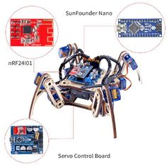 A description of SunFounder Remote Control Crawling Quadruped Robot Model V2.0 DIY Wooden Kit for Arduino Nano Servo Motor, a great choice for learning robotics and Arduino programming.