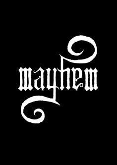 Unleash MAYHEM (Black) Art Print. Ambigram series 1: Hell
