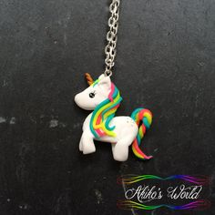 Kawaii rainbow unicorn necklace - Pendant hand made out of polymer clay / fimo…