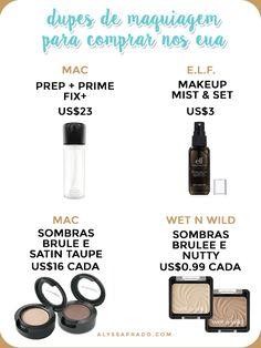 Quer comprar algumas sombras da MAC sem gastar muito? Que tal trocar pelas sombras da wet n wild? As cores são iguais! Clique no link e descubra os melhores dupes de maquiagem para comprar nos Estados Unidos!