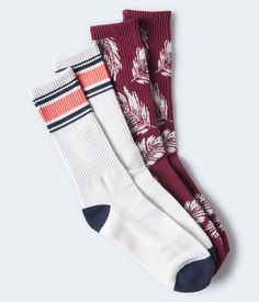 Leaf & Stripe Crew Sock 2-Pack Crew Socks, Aeropostale, Teen Boy Fashion, Dark Red, Packing, Sporty, Fashion Outfits, Guys, How To Make