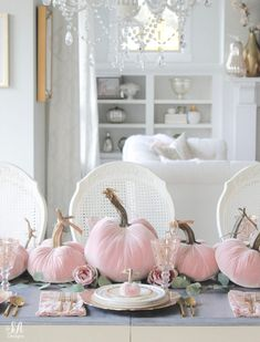 Blush Velvet Pumpkins Tablescape For Fall - Summer Adams Thanksgiving Decorations, Seasonal Decor, Holiday Decor, Fall Decorations, Thanksgiving Table, Pink Pumpkins, Velvet Pumpkins, Elegant Fall Decor, Shabby Chic Fall