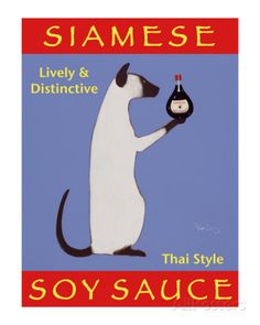 Ken Bailey Siamese Soy Sauce print for sale. Shop for Ken Bailey Siamese Soy Sauce painting and frame at discount price, ships in 24 hours. Cheap price prints end soon. Crazy Cat Lady, Crazy Cats, Siamese Cats, Cats And Kittens, Siamese Dream, Catwoman, Cat Posters, Unique Words, Tea Art