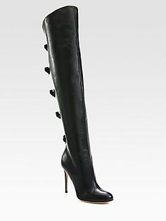 I would love to give these to myself.  They are so beautiful. #Saks #Valentino Multi Bow Over-The-Knee Boots