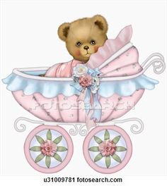 Clipart of Baby teddy bear girl in baby carriage