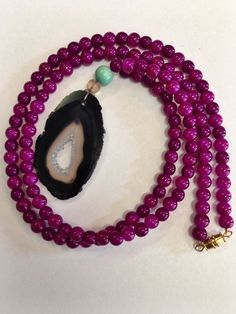 Boho Black and Purple Druzy Stone Necklace by CopperheadDesign, $30.00