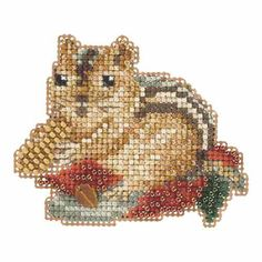 Chippy Beaded Cross Stitch Kit Mill Hill 2015 Autumn Harvest - $5.99