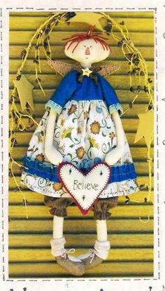Heart Angel - Wall Doll Pattern by Country Keepsakes