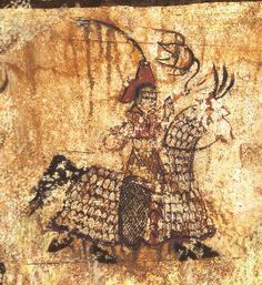 This is a detailed view of a Gaemamusa depicted in the first line of the procession on the eastern wall of the antechamber in Tokhung-ri Tomb. The term Gaemamusa refers to both the soldier and the horse outfitted in heavy iron armor, and the Gaema Corps was an elite branch of the Koguryo military.
