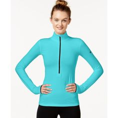 Nike Pro Hyperwarm Half-Zip Dri-fit Pullover ($60) ❤ liked on Polyvore featuring activewear, activewear tops, nike pullover, zip pullover, nike, sweater pullover and nike sportswear