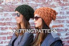 KNITTING PATTERN Honeycomb Beanie  Slouch Beanie Knitting