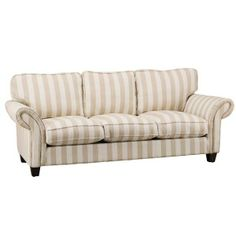 3 seater coffee and cream striped sofa Mum Dads place
