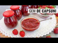 Gem de căpșuni cu puțin zahăr - rețeta simplă, fără conservant. Se păstrează perfect 2-3 ani. - YouTube Pudding, Desserts, Food, Youtube, Syrup, Tailgate Desserts, Deserts, Custard Pudding, Essen
