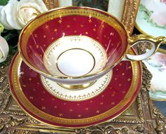 AYNSLEY ATHENS TEA CUP AND SAUCER HOT RED AND ETCHED RAISED GOLD TEACUP