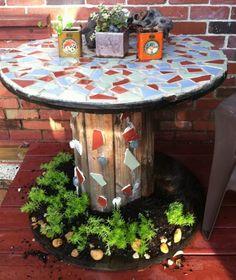 DIY Repurposed Reel Mosaic Table   The Owner-Builder Network