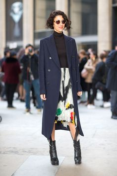 Yasmin Sewell in Celine skirt / Fashion Street Paris Fashion Week Fall 2014.
