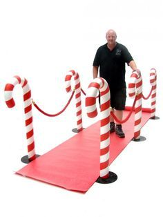 Candy Cane Walkway, Carpet and Stanchion Hire including Red Carpet Hire High quality Candy Cane Walkway available to hire. View Candy Cane Walkway details, dimensions and images. Candy Land Christmas, Christmas Yard, Grinch Christmas, Outdoor Christmas, Christmas Holidays, Christmas Dance, Christmas Fair Ideas, Christmas Themes, Candy Christmas Decorations