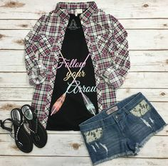 Penny Plaid Flannel Top: with jeans & boots