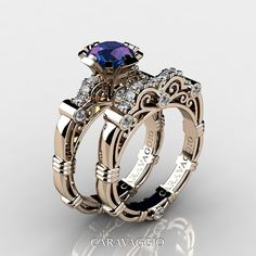 Art Masters Caravaggio 14K Rose Gold 1.0 Ct Alexandrite Diamond Engagement Ring Wedding Band Set R623S-14KRGDAL