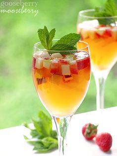 White Summer Sangria    You will need:  1 cup strawberries, chopped into small cubes  1 green apple, cored and chopped into cubes  1 mango, peeled, pitted, and chopped into cubes  Other fruit, e.g.: plum, pear, peach, etc., cubed   1/8 cup agave syrup  1/4 cup brandy  1 bottle dry white wine  12 oz Cascal or club soda  Mint, for garnish