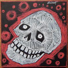 El Hombre Loco Y Muerte. plywood tile 6x6 inches. SOLD