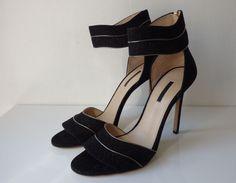 Escarpins en cuir noir et doré ELIE SAAB
