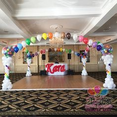 Classy Rainbow Theme Balloon Dance Floor Canopy and Balloon Name Sculpture. #PartyWithBalloons