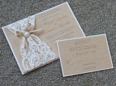 ABIGAIL: Burlap Lace Wedding Invitation Vintage Rustic