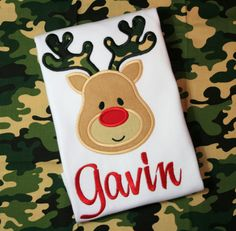 Personalized Boy Reindeer Shirt Onesie Christmas Hunting Camo Applique Embroidered on Etsy, $25.00