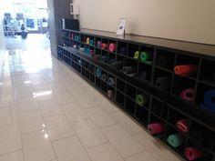 Complimentary yoga mat storage @ Duke location