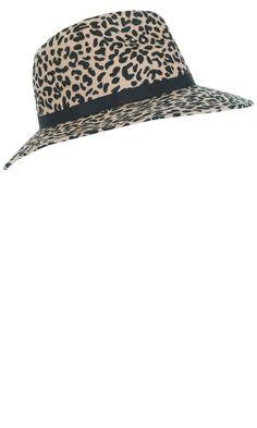 Miss Selfridge Leopard Print Fedora, £25
