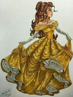 Bella - Disney Princess Drawings by Max Stephen Bella Disney, Disney Dream, Disney And More, Disney Love, Disney Disney, Disney Names, Tinkerbell Disney, Princesses Disney Belle, Disney Princess Drawings