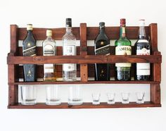If you are a whiskey lover this wine rack wall mounted made from reclaimed wood is the perfect match for you! It can be a great option as a a housewarming gift, gift for men, gift for groom, wedding gift, gift for boyfriend. This rack would look amazing in a cigar bar or next to your alcohol collection at home or office. It is made from reclaimed pallets and its a fabulous way to display your love for whiskey. It has hangers on the back and we will send you all the assembly materials for an…