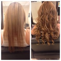 Before and after hair color and hair extensions