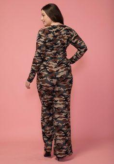 f7dc526ef8 Asoph Plus Size Camo Print Tie Waist Jumpsuit