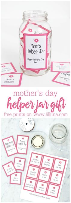 Mom's Helper Jar - a simple, cute and practical gift for mom on Mother's Day with FREE prints.
