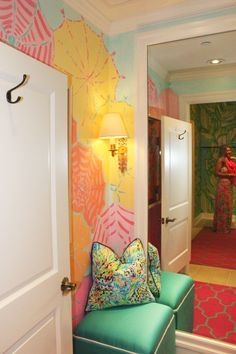 Dressing Room in Lilly Pulitzer Waterside in Naples Room, Palm Beach Style, Room Design, Girl Room Inspiration, Interior, Pastel Home Decor, Dream Closets, Home Decor, Room Inspiration
