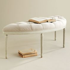 W4021Tufted Linen French Bench | Wisteria - this could be interesting in the living room - similar finish to your round table $399