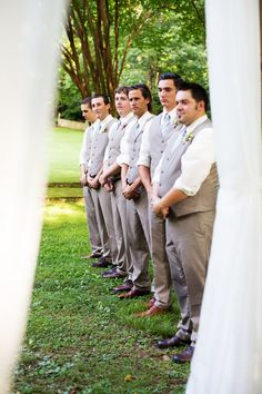Groomsmen - Katie + Kenny's Wedding  {The Fillauer Lake House - Cleveland, TN} Photo By Caressa Rogers Photography #tan #suits #vest #mint