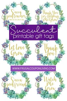 Printable Succulent Gift Tags for teachers, neighbors, parents, baby showers, family and friends. Shop Succulent Studio's Succulent Gift Box as a reoccurring gift service. Teacher Appreciation Gifts, Teacher Gifts, Back To School Crafts, School Stuff, Succulent Gifts, Creative Gift Wrapping, Gift Bows, Succulents Art, Succulents Wallpaper