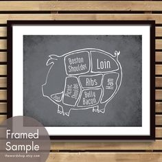 Pork Butcher Diagram of a Pig -8x10 Print (featured in Charcoal) (Buy 3 and get One Free) on Etsy, $12.95