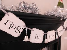 "New Years Party Decorations ""ring in the new year"" Sign Banner Garland from Bekah Jennings on Etsy. Love the silver bells hanging between the words. New Years Eve Day, New Year 2014, New Years Party, New Year's Crafts, Holiday Crafts, Holiday Fun, Holiday Ideas, Festive, Nye Party"