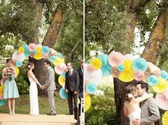 pinwheel wedding backdrop color yellow blue pink brown