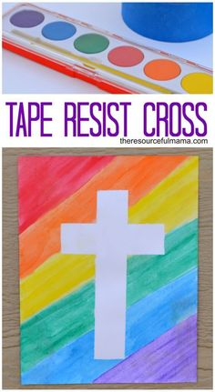 This tape resist Easter cross requires very few materials, is low prep and great for all kids. : This tape resist Easter cross requires very few materials, is low prep and great for all kids. Easter Art, Easter Crafts For Kids, Toddler Crafts, Preschool Crafts, Easter Activities, Easter Eggs, Sunday School Crafts For Kids, Easter Decor, Bible Crafts For Kids