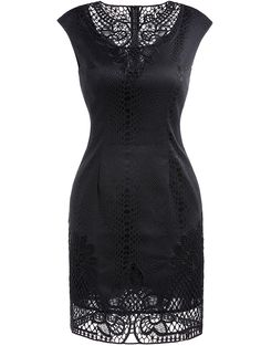 Black crochet dress #dress #lbd