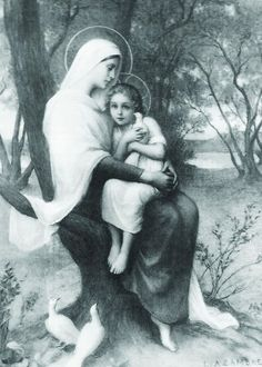Glossy full-color print of the Saint Anne and the Child Mary image suitable for framing. Saint Anne and the Child Mary was created by Adrienne Azambre Saint Anne embraces the Child Mary o Catholic Prayers, Catholic Art, Catholic Saints, Religious Art, Roman Catholic, Blessed Mother Mary, Blessed Virgin Mary, Saint Joachim, Images Of Mary