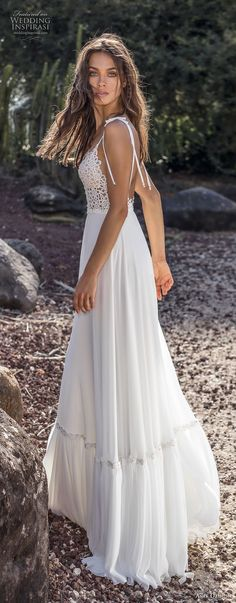 asaf dadush 2018 bridal sleeveless spaghetti strap deep plunging sweetheart neckline heavily embellished bodice bohemian a line wedding dress open back sweep train (8) sdv
